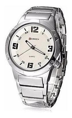 Relógio Masculino Curren Analógico Casual Prata 8111