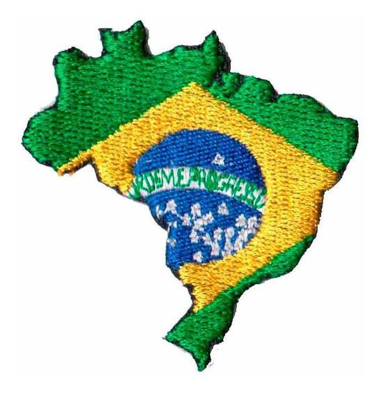 Bordado Patch - Mapa Bandeira Brasil Brasileira Bd50087