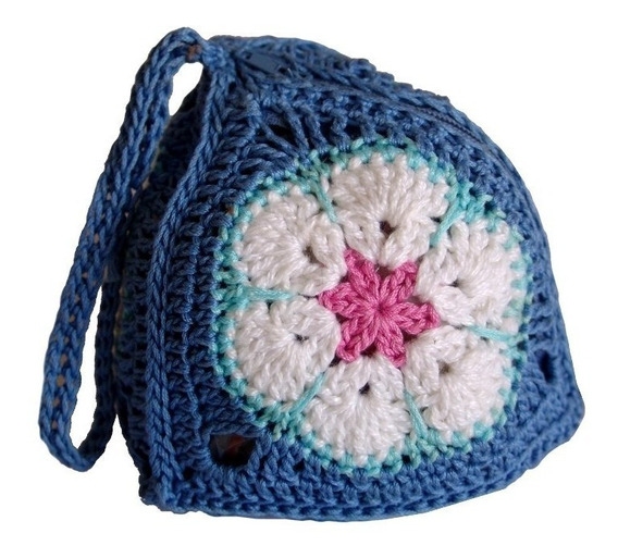 Carterita/monedero Crochet Original Triángulo Rosa Africana