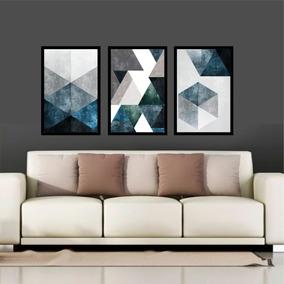 Quadro Mosaico Abstratos Azul E Neutro Lindos Quarto Sala