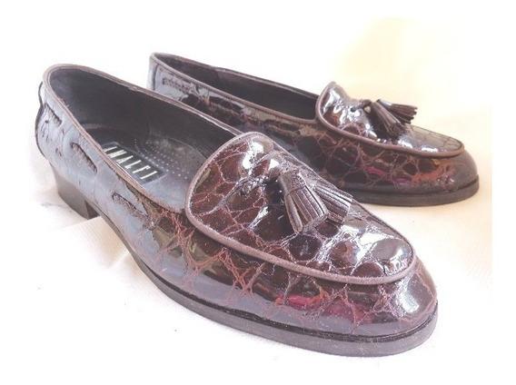 Zapato Mocasin Cuero Labrado 38 Importados (o.mar2011)