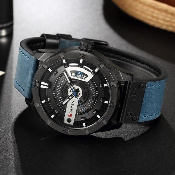 Relógio Curren 8301 Pulseira De Couro Masculino