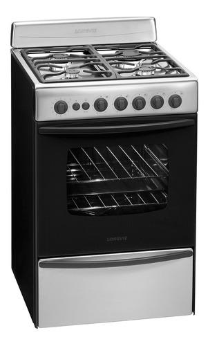 Cocina Longvie Standard 13501XF multigas 4 hornallas  acero inoxidable 220V puerta  con visor 74L