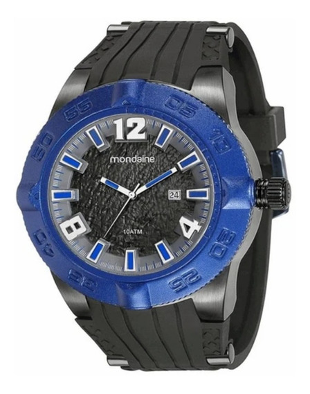 Relógio Masculino Mondaine Preto E Azul Silicone Original