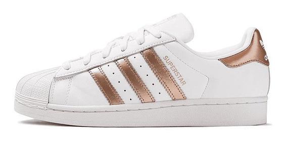 Tênis adidas Superstar Foundation Branco E Cobre Original