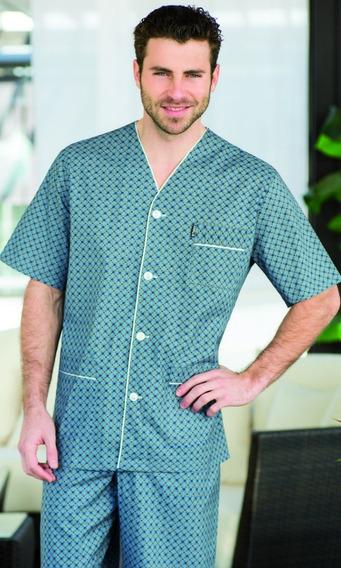 Pijama Hombre Manga Corta Pantalón Largo Tipico Talles 56/60