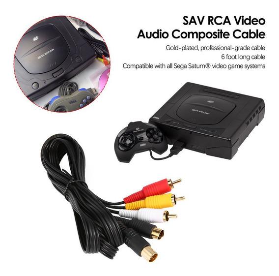 Composto Cabo S-video + A/v - P/ Sega Saturn Testado Dourado