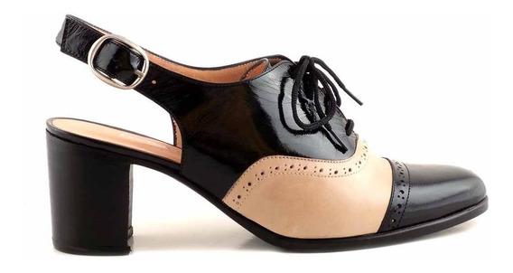Zapato Cuero Mujer Briganti Acordonado Taco - Mccz33017 Vh