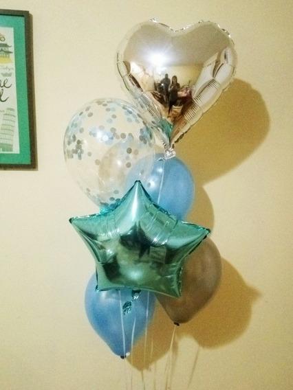 2 Bouquet De 3 Perlados, 2 Metalizados Y 1 Confeti Con Helio