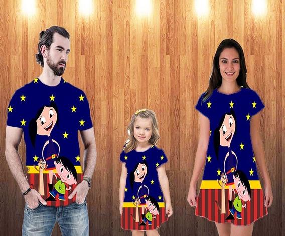 Blusa Pai, Blusa Mãe + Vestido Filha - Família Luna