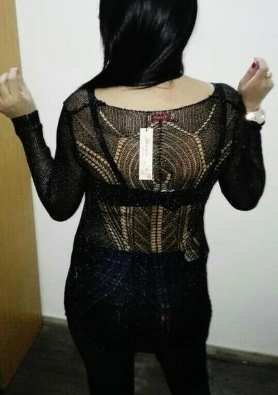Suéter Negro Brilloso.