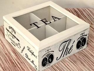 Caja De Té Madera Vintage Con 4 Compartimientos. Agronewen