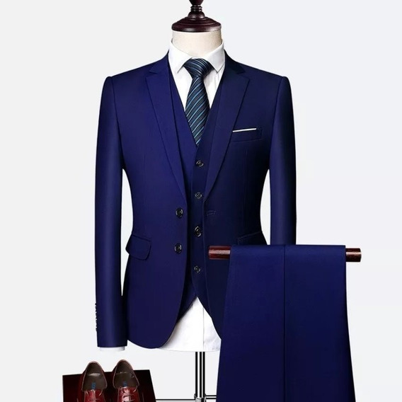 Terno Masculino Slim Oxford Marinho- Italiano Paletó+calça