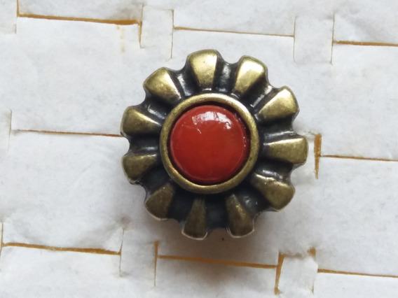 Promoção Anel Tipo Ouro Velho Com Pedra Vermelha Regulável