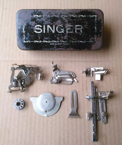 Antiga Caixa Singer Acessórios Inglesa Anos 30 Completa Pro