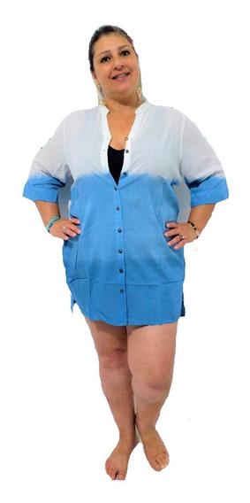 Saída De Praia Camisao Blusa Plus Size Branca Azul Sob Legue