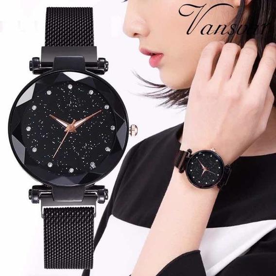 Relógio Feminino De Pulso Céu Estrelado Pulseira Magnetica