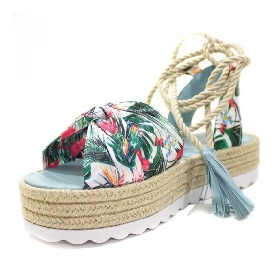 Sandália Flatform Corda Amarração Floral