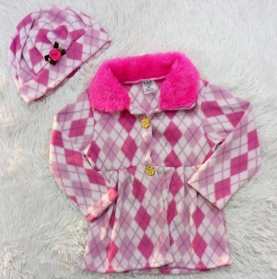 Casaco Infantil Menina Com Boina Conjunto Blusa Sobretudo