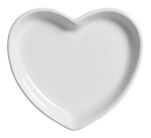 Pratinho Coração Branco De Cerâmica