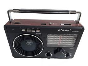 Rádio Retro Antigo Portátil Am/fm Recarregavel Pen Drive