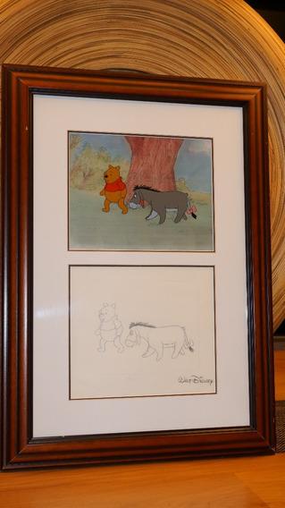 Original Disney - Winnie Pooh Cel Y Dibujo A Mano Enmarcado
