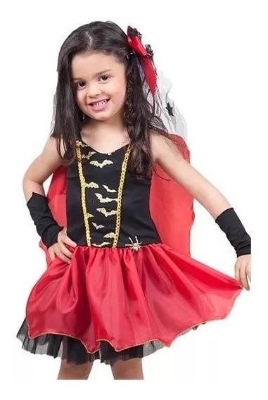 Vestido Fantasia Halloween Vampira Bruxa + Enfeite Cabelo