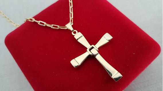 Corrente Cordão Masculino Com Crucifixo Folheado Ouro 18k