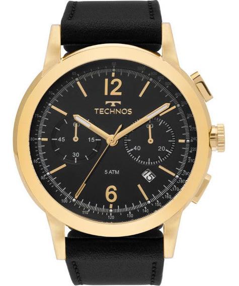 Relógio Technos Masculino Cronógrafo Dourado Couro 6s21ac0p