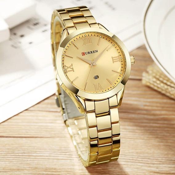 Relógio Feminino Curren 9007 Quartzo Dourado Original Barato