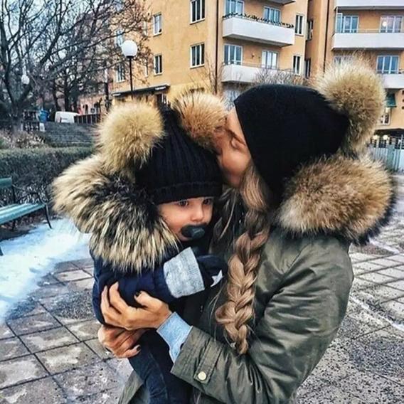Dúos Invierno Mamá Niño Niña Incluye 2 Gorros Navidad Pompon