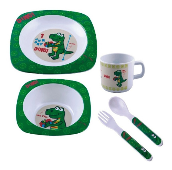 Conjunto Refeição Infantil Melamina 5 Peças Verde Dino 2001