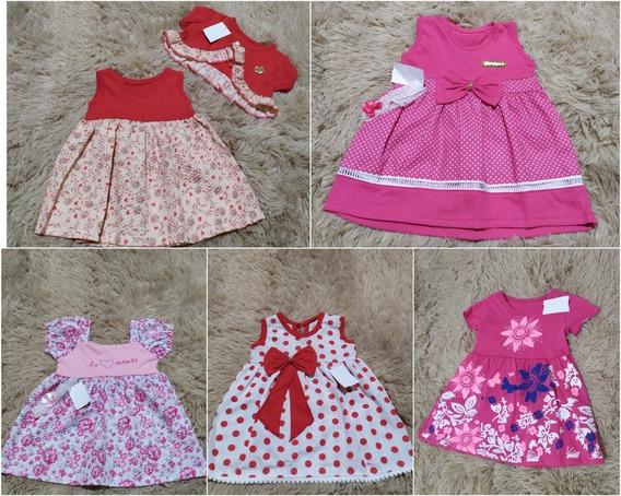 Kit 5 Roupinhas Roupas Vestidos Bebê Menina Infantil