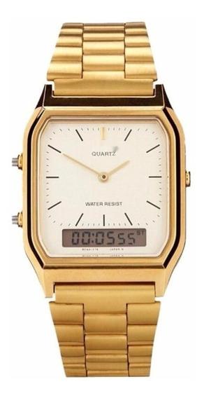 Relógio Unissex Analógico Digital Dourado