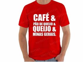 Camiseta Vermelha Café E Pão De Queijo E Minas Gerais 035
