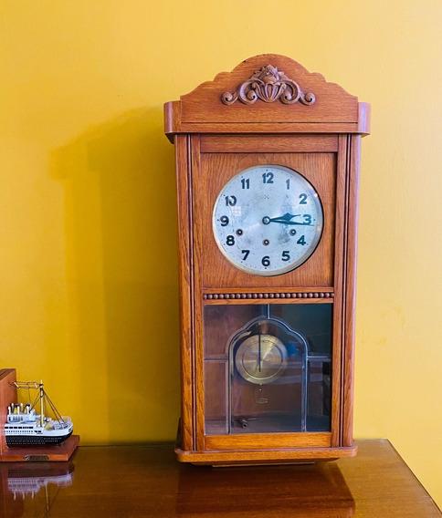 Reloj De Pared Antiguo Con Péndulo 3 Cuerdas Caja De Roble