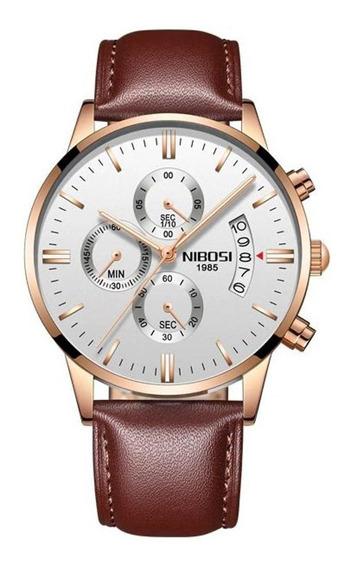 Relógio Masculino Nibosi 2309 Pulseira De Couro Marrom C/ Nf