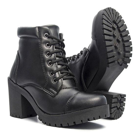 Bota Feminina Tratorada Coturno Ankle Boot De Salto Salazari