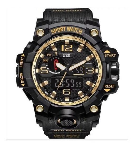 Relógio Militar Masculino Dourado-lepadi Pronta Entrega