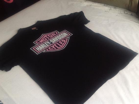 Harley Davidson Playera Talla L Logo Rosa Unisex