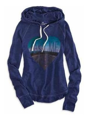 Hoodie Suéter Con Gorro American Eagle Xs