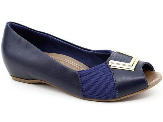 Peep Toe Usaflex N2289 Couro Azul Marinho Loja Pixolé