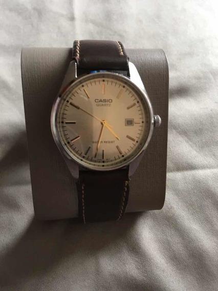 Reloj De Caballero Casio Acero Piel Calendario