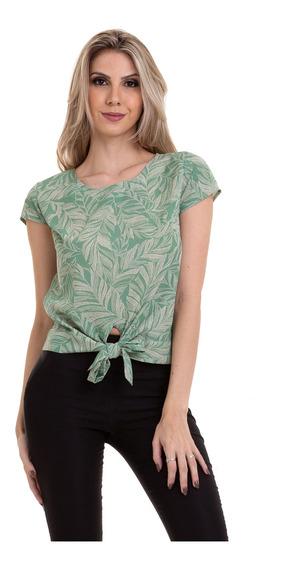 Blusa Crepe Estampada Amarração Na Cintura Verde Kinara