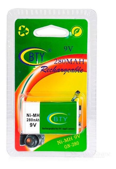 Bateria Bty Recarregável 9v - 280 Mah