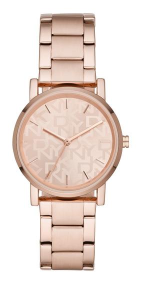 Reloj De Pulso Dama Soho Dkny Ny2854 Color Oro Rosado