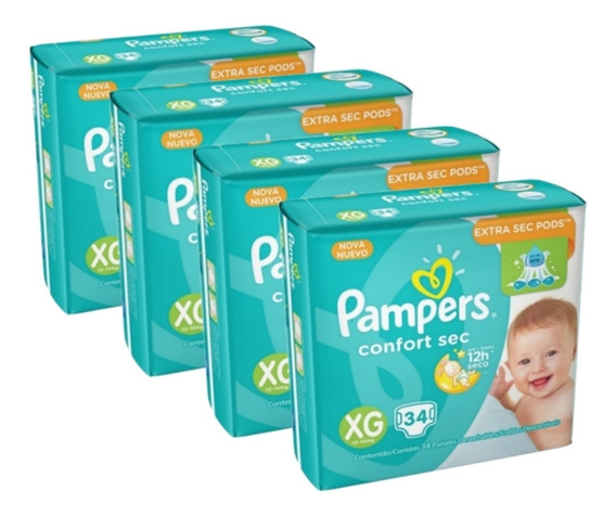 Kit 4 Fralda Infantil Pampers Confort Mega Xg