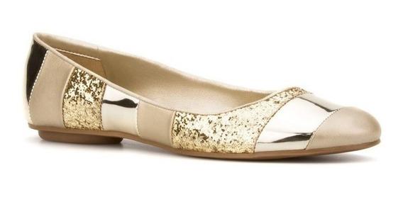 Flats Andrea Oro Brillos Glitter Metalizados 7297