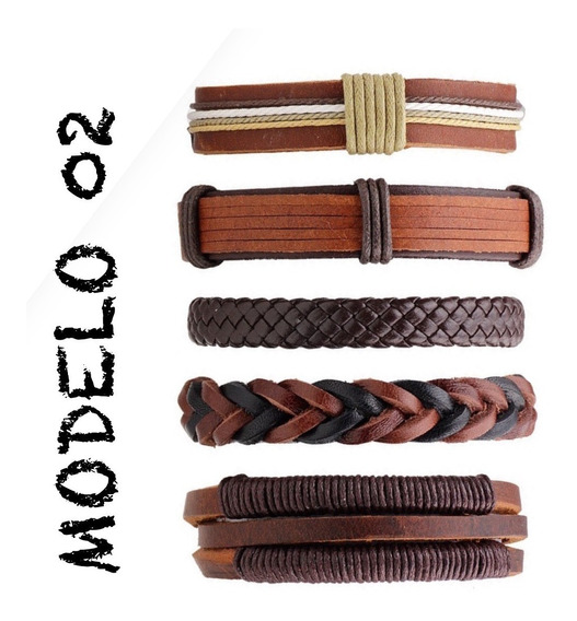 Kit Pulseira Bracelete Masculina Feminina Couro Legítimo