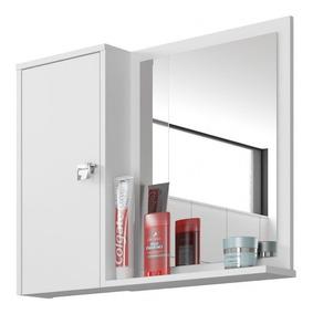 Espelheira Para Banheiro 1 Porta 2 Prateleiras Gênova Jgwt